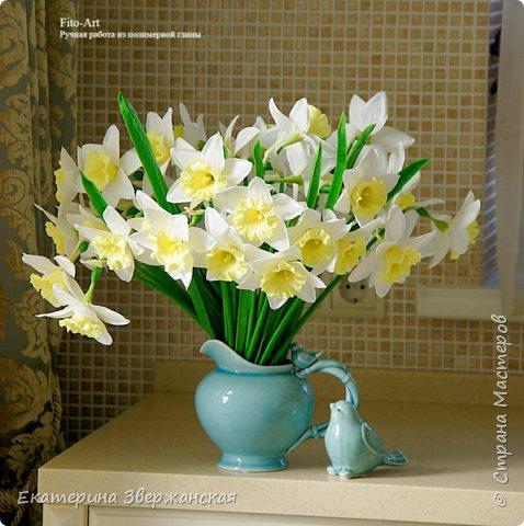 Нарциссы из холодного фарфора. фото 11