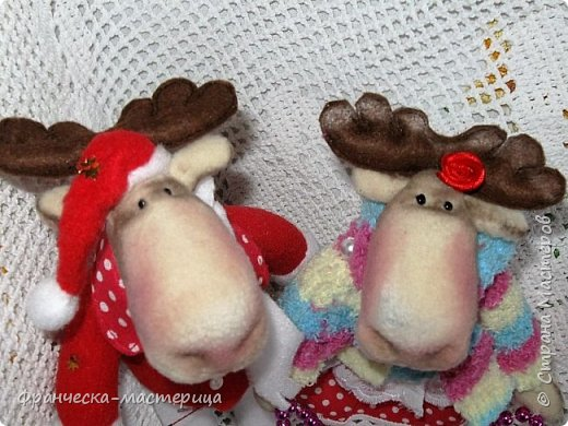 Здравствуйте, дорогие жители СМ!!! Я продолжаю готовиться к празднику и нашила немного лосиков. Выкройка из инета. Простейшая. Шила из флиса. фото 4