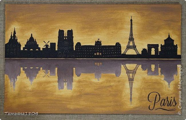 """Пришла идея нарисовать триптих """"Города мира"""". Размер 30х50 см. Силуэты городов нарисованы кофейной гущей + акриловые краски. Сделаны полностью """"с нуля"""", начиная с изготовления подрамника, галерейной натяжки холста (двунитки) и грунтовки.  фото 4"""