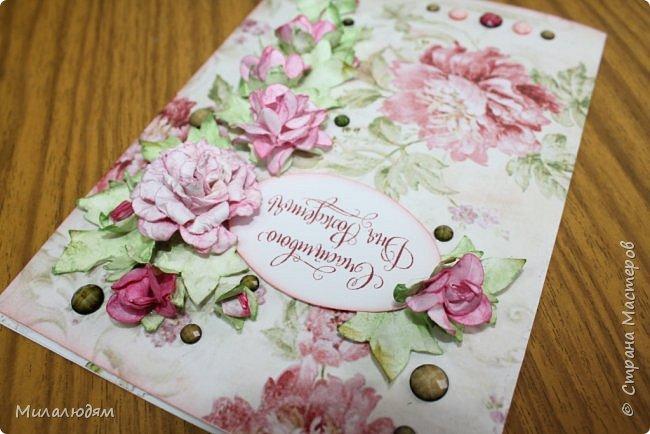 Всем здравствуйте!  Сегодня я с открыткой на день рождения. Хочу показать разницу ночных и дневных фото. Это ночные. Несвойственная для меня цветочная композиция водопадом. Но мне понравилось. фото 12