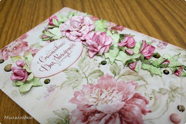 Всем здравствуйте!  Сегодня я с открыткой на день рождения. Хочу показать разницу ночных и дневных фото. Это ночные. Несвойственная для меня цветочная композиция водопадом. Но мне понравилось. фото 13