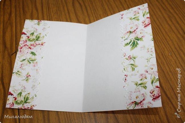 Всем здравствуйте!  Сегодня я с открыткой на день рождения. Хочу показать разницу ночных и дневных фото. Это ночные. Несвойственная для меня цветочная композиция водопадом. Но мне понравилось. фото 14