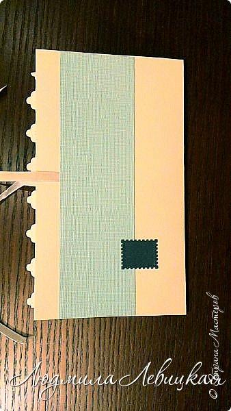 Здравствуйте! Заказали мне несколько открыточек с кармашком для денюжки... Сделала пока две. Показываю. На первой бумага красивого голубого цвета (фото не передает). фото 5