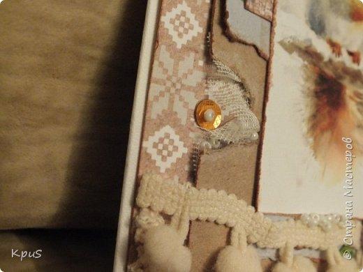 Добрый день жители СМ. Сегодня я к Вам с открыткой. Сделала ее из бумаги ScrapBerry`s A Taste of Winter collection, в которую просто влюбилась. Вчера получила посылку с прищепками и решила сразу же их применить. Что получилось посмотрите.  фото 5