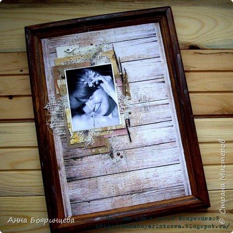 """Всем привет!!! Хочу показать страничку, которую делала для Скрап Академии для зачета. Размер рамки формат А4, была у меня рамка которая лежала очень давно и ждала своего часа. И состояла рамка из деревянной основы и стекла, а вот основы которая держит фото не было. Поэтому я приклеила плотный картон от коробки и понеслось)))) Я очень люблю деревянные фоны, бумагу. В работе использовала много обрезков бумаги, крафт-бумагу, кружево из """"бабушкиного сундука"""", сизаль, веточки, штампы, текстурную пасту, переплетный картон для объема и конечно же не обошлось без любимых мной полубусин)))). Основа рамки была уже коричневого цвета и было на ней немного лака, поэтому я кое-где подкрасила акриловой краской и добавила пигмента цвет серебро. и вот что из этого вышло фото 1"""