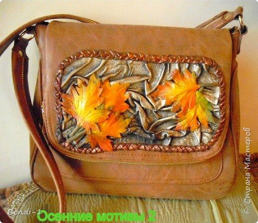 """Вот такой декор на сумку у меня сотворился... Сразу же сообщаю, что сумка от хорошей фирмы, но не моей работы))) А вот декор - мой! Итак... нужна была сумка к кожаной куртке терракотового цвета. Подобрать к такому цвету что-либо подходящее не очень-то и просто... тут важны даже оттенки. Увидела сумку... цвет вроде бы подходит, немного светлее куртки. Но скучная она была... тоска зеленая!  А куртка требовала чего-то.. такого... Недаром я ее назвала """"Погоня за молодостью)))... как о такой мечтала когда-то...давным - давно))) Сумку решила купить и преобразовать! И вот что получилось! фото 2"""