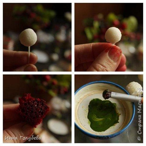 Девочки,привет! Налепила вот таких ягодок, часть из них делала на заказ и добавила разнообразия,заодно немного пофоткала процесс тонировки. фото 7