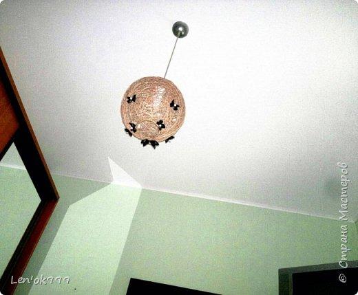 Люстра из шпагата с бабочками (канзаши) фото 2