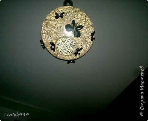Люстра из шпагата с бабочками (канзаши) фото 1