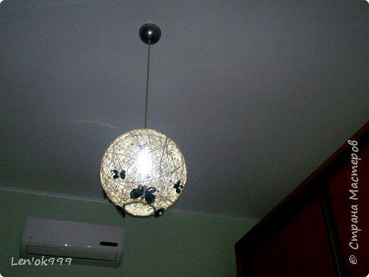 Люстра из шпагата с бабочками (канзаши) фото 3