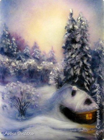 """Зимний вечер"" - 21х30 - Шерстяная акварель фото 1"