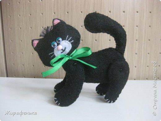 """Этого милого котёнка сшила моя соседка Вероника 8лет, с моей небольшой помощью.На выставке я купила набор для творчества: игрушки из фетра-Котёнок """"Удача"""",производитель лоскутный кенгуру-интернет магазин Хомячок.И появился вот такой озорной маленький друг. фото 2"""