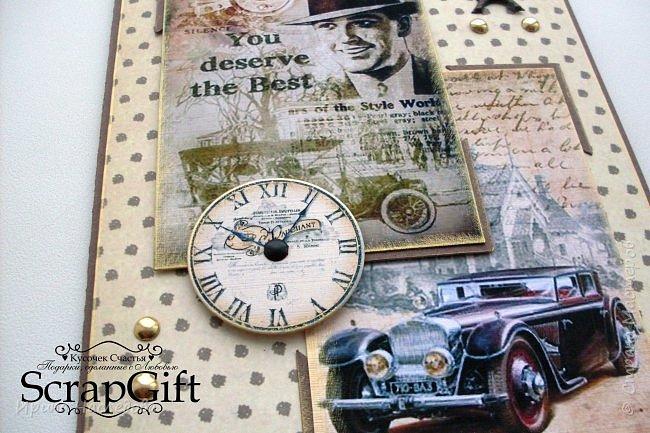 """Мужская открытка """"С Юбилеем"""", размер 11*18 см, с отделением для подарочного сертификата. фото 6"""