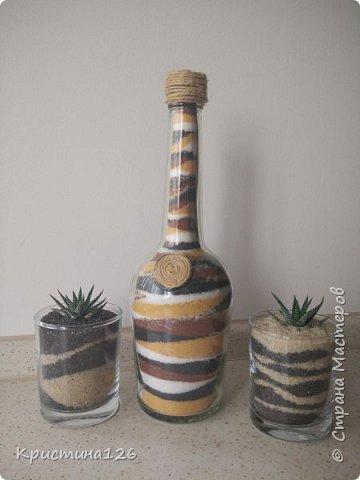 В свое время вдохновилась бутылками- насыпушками. А композиции с суккулентами были сделаны совсем недавно фото 1