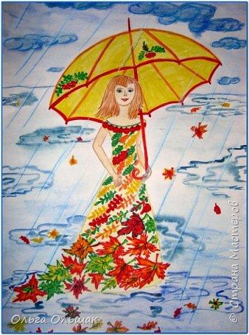 Проказницу Осень, которая качается на ветке рябины нарисовала Яна. фото 2