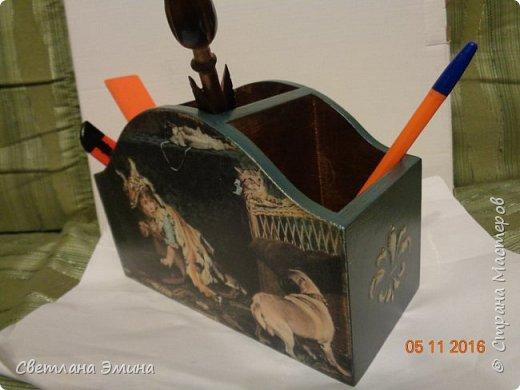 Карандашница. Декупаж распечатка и текстурная паста. Внутри морилка и лак. фото 2