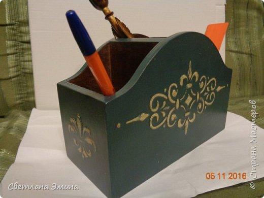 Карандашница. Декупаж распечатка и текстурная паста. Внутри морилка и лак. фото 3