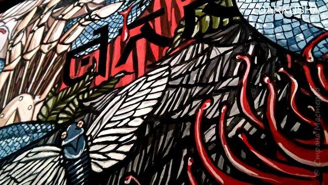 Привет, с вами Даша. Хочу поделиться своим первым опытом росписи скейта. Он уже мелькал на сайтах, загружу и сюда. Теперь подробнее о работе. фото 6