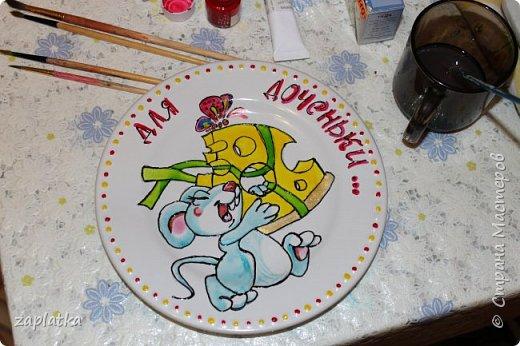 сделала именную тарелочку для дочки .. она такая же хитрюга как и мышка..  только бы не разбила.. фото 1
