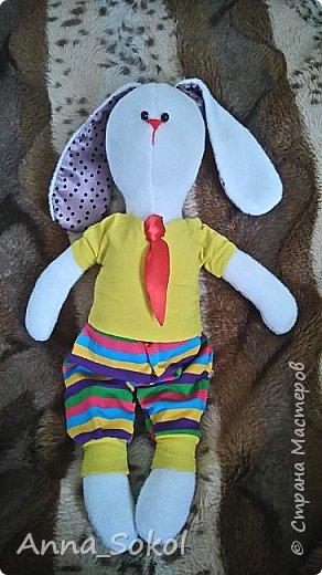 Выкройку нашла в ВК. Старшему сыночку  шила Мишку,самую первую свою игрушку.Ну и по традиции решила и младшему сшить. Зайку шила полностью в ручную,пока качала сыночка спать.За один день. фото 2