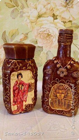 Бутылочки выполнены в смешанных техник,есть скорлупа от яиц,салфетки,бисер,природный засушенный материал фото 2