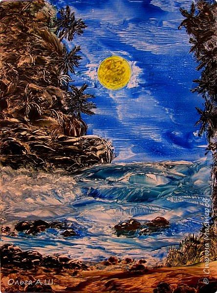 """""""Полная луна над холмом"""". А3 фото 2"""