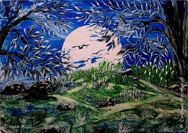 """""""Полная луна над холмом"""". А3 фото 1"""