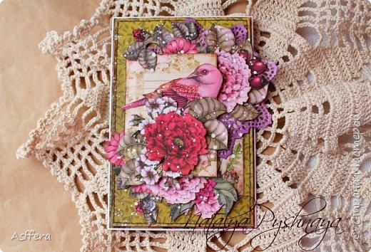 """Всем привет!!!Очередная открытка из коллекции """"Райские птицы"""" от ScrapBerry's фото 2"""