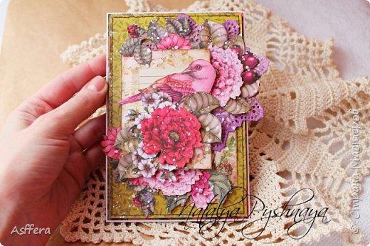 """Всем привет!!!Очередная открытка из коллекции """"Райские птицы"""" от ScrapBerry's фото 3"""