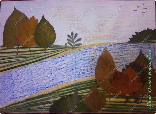 Вот такую картину из травы и листьев сделали с сыном на выставку в школу.
