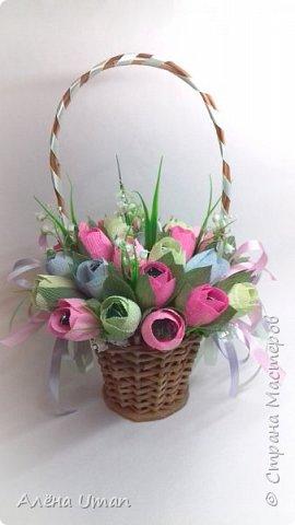 Здравствуйте!очень рада поделиться новыми работами,корзина тюльпанов 29 штук,очень нравятся мне такие цвета) фото 1