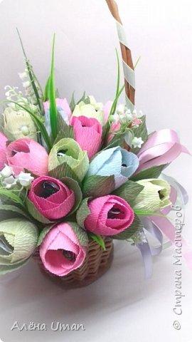 Здравствуйте!очень рада поделиться новыми работами,корзина тюльпанов 29 штук,очень нравятся мне такие цвета) фото 2