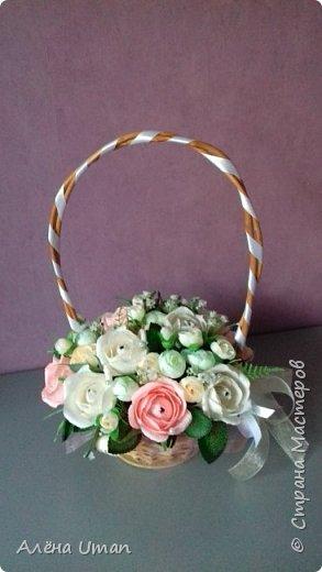 Здравствуйте!очень рада поделиться новыми работами,корзина тюльпанов 29 штук,очень нравятся мне такие цвета) фото 9