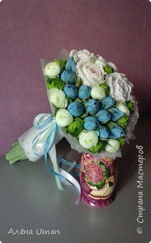 Здравствуйте!очень рада поделиться новыми работами,корзина тюльпанов 29 штук,очень нравятся мне такие цвета) фото 7