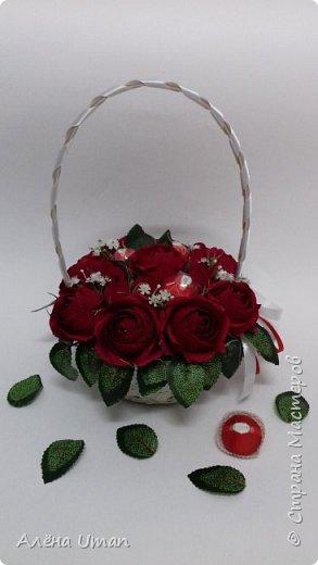 Здравствуйте!очень рада поделиться новыми работами,корзина тюльпанов 29 штук,очень нравятся мне такие цвета) фото 3