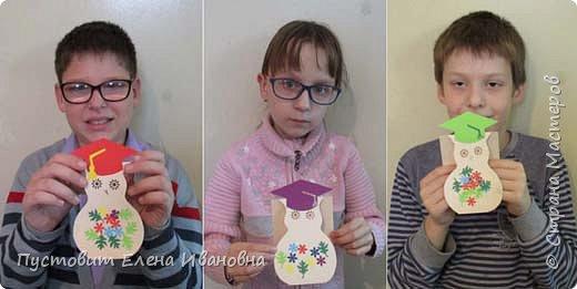 Вот такие открыточки мы с детворой сделали в этом году ко Дню Учителя. Мудрые совушки с букетиками. фото 11