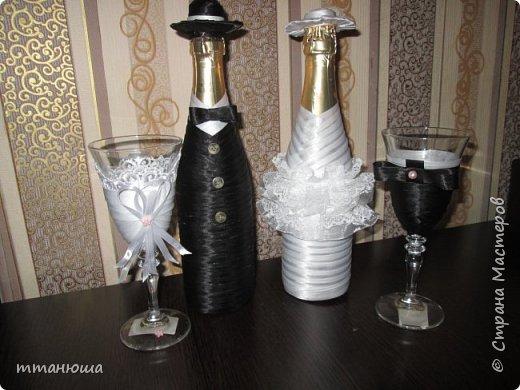 Оформление бутылок и бокалов к свадьбе.