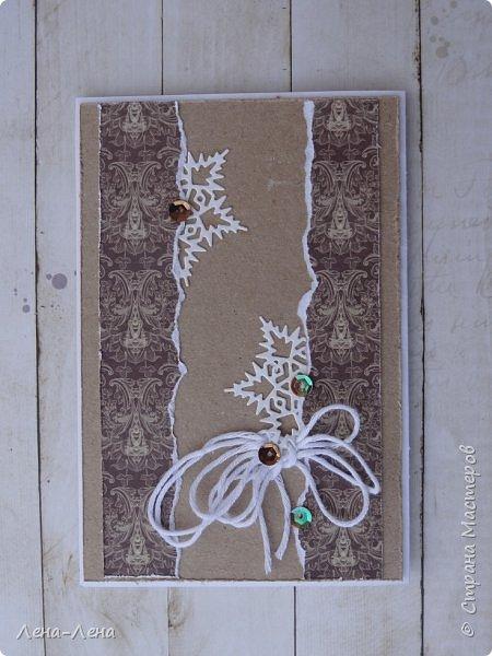 За окнами серо, дождливо, ветрено, а душа просит праздника...Вот и родились две крафтовые открыточки к светлому празднику. фото 6