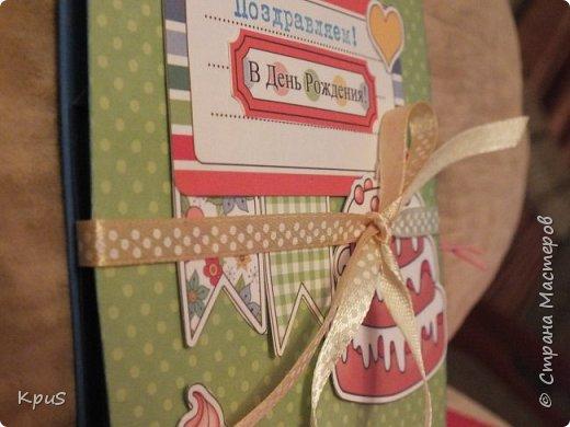 """Добрый день жители СМ. Сегодня я к Вам снова с детской открыткой. У подружки моей старшей дочери скоро День рождения. Я решила сделать нечто необычное и оригинальное. В этой открытке соединились несколько элементов: это и открытка, и фото альбом, и объемная конструкция. Подробный МК Tanushka посмотрите в интернете, если будет интересно, чтобы понять некоторые нюансы сборки. Схему я выложу в конце. Для создания открытки использовала цветную акварельную бумагу, скрап бумагу Mr. Painter """"Дед и Мишка вприпрыжку"""", а также различные  карточки. Чтобы открытка не открывалась, решила приделать завязки фото 2"""