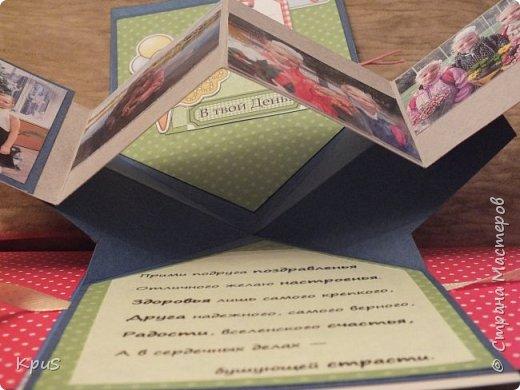 """Добрый день жители СМ. Сегодня я к Вам снова с детской открыткой. У подружки моей старшей дочери скоро День рождения. Я решила сделать нечто необычное и оригинальное. В этой открытке соединились несколько элементов: это и открытка, и фото альбом, и объемная конструкция. Подробный МК Tanushka посмотрите в интернете, если будет интересно, чтобы понять некоторые нюансы сборки. Схему я выложу в конце. Для создания открытки использовала цветную акварельную бумагу, скрап бумагу Mr. Painter """"Дед и Мишка вприпрыжку"""", а также различные  карточки. Чтобы открытка не открывалась, решила приделать завязки фото 7"""