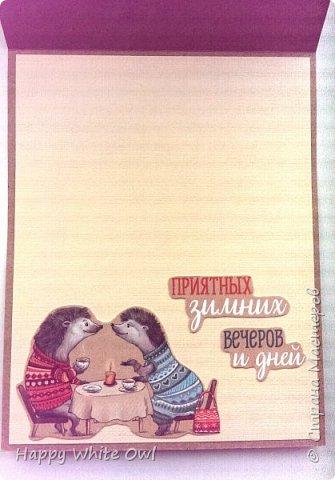 Здравствуйте!  Сегодня хочу поделиться с Вами очередной новогодней открыткой. Здесь использовала декоративную бумагу от АртУзора Снежные истории. МК можно посмотреть здесь https://www.youtube.com/watch?v=1m-V6Tf-SdA&index=10&list=PLw98jevtt7LtPgxEkpOhYuMZBXQkaNe4O.  Я лишь капельку изменила размеры в двух деталях и сделала открытку открывающейся. В остальном всё как в МК. фото 5