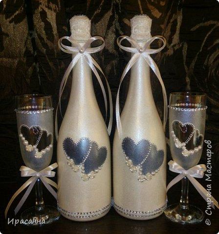 Свадебные бутылки делала впервые, так же как и фужеры. фото 1