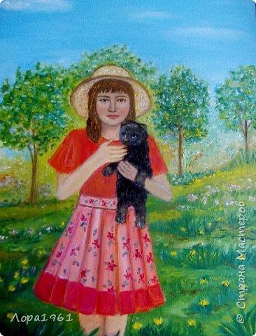 Детский портрет дочери, идея с фотографии. Натуся очень рада была когда у бабушки появился щенок Тузик. Носилась с ним, не спуская с рук.                                                                                                                                                                           Полотоно 40х50, масляные краски, 2016г