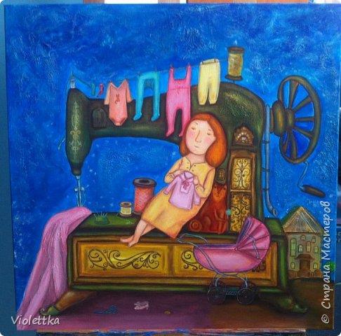 """Уважаемые мастерицы хочу подарить вам хорошее настороение!  Моя картина """"Тихая ночь"""" - творческая копия по картине прекрасной художницы Анна Силивончик.  Всем мамам посвящается!)  Очень люблю картины Анны, они проникнуты ностальгией, теплом и уютом. В картине испоьзовала объемную технику в некоторых местах - небо, в правой части швейной машинки, на домике и на простынке.  Желаю всем приятного просмотра!"""