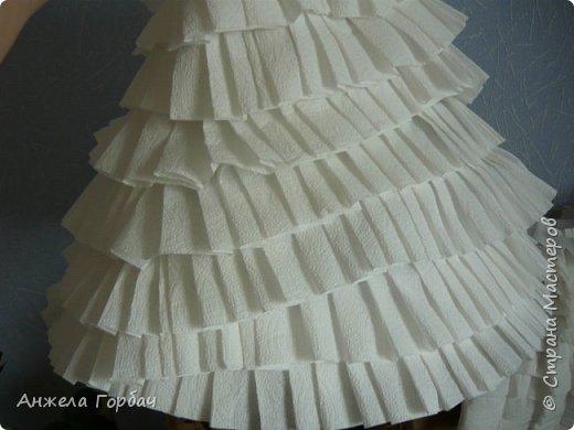 """Дочка очень захотела поучаствовать в конкурсе """"Мисс Дюймовочка"""".Один из конкурсов был- платье из подручных материалов. В интернете множество идей, но нет мк.Решили делать платье из туалетной бумаги. фото 4"""