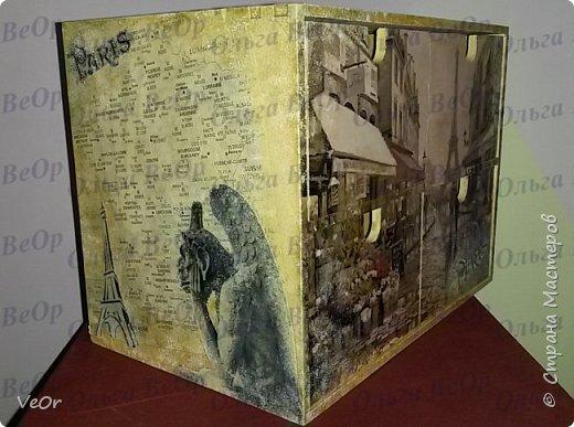 Ящичек декорировала в подарок человеку, который мечтает побывать в Париже. фото 3