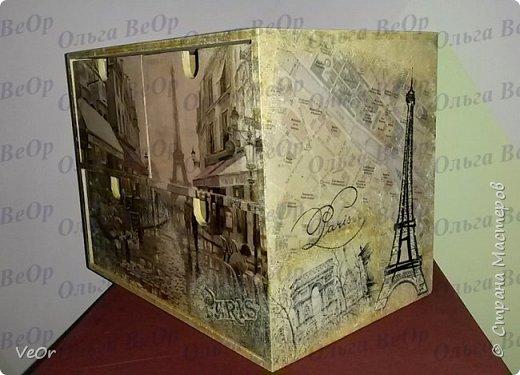 Ящичек декорировала в подарок человеку, который мечтает побывать в Париже. фото 4