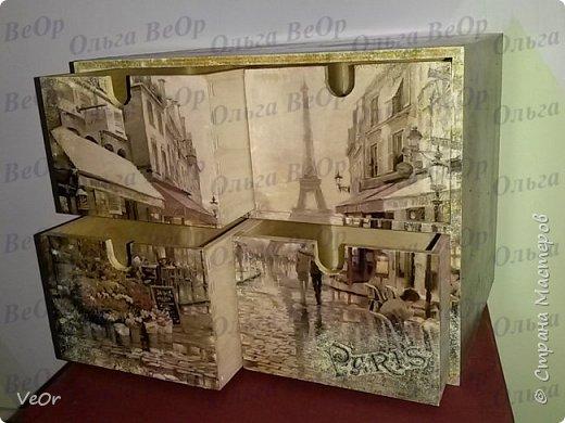 Ящичек декорировала в подарок человеку, который мечтает побывать в Париже. фото 1