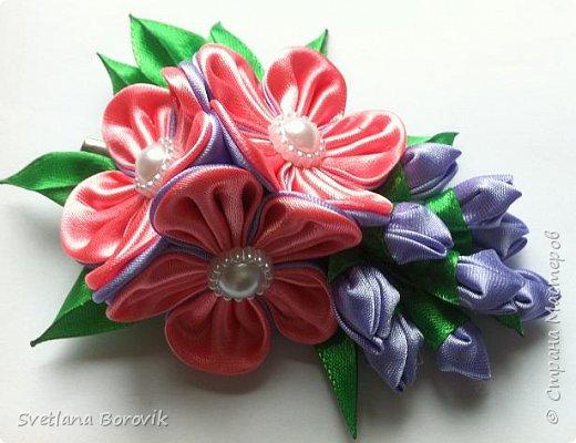 Заколка канзаши Пурпурная дымка из атласных лент. Мастер класс.  DIY Hairpin flower kanzashi Purple haze