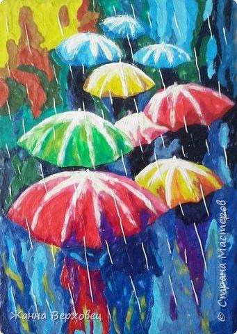 Осень. Дождливая пора, сырость.... А, ну и пусть дождь.... Есть же яркие зонтики!  фото 1